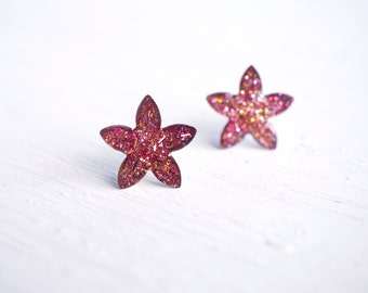 Pink Glitter Flower Stud Earrings