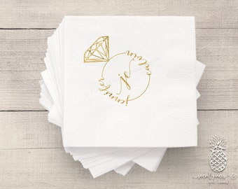 Bride and Groom Infinity Ring   Customizable Cocktail Wedding Napkins   social graces and Co