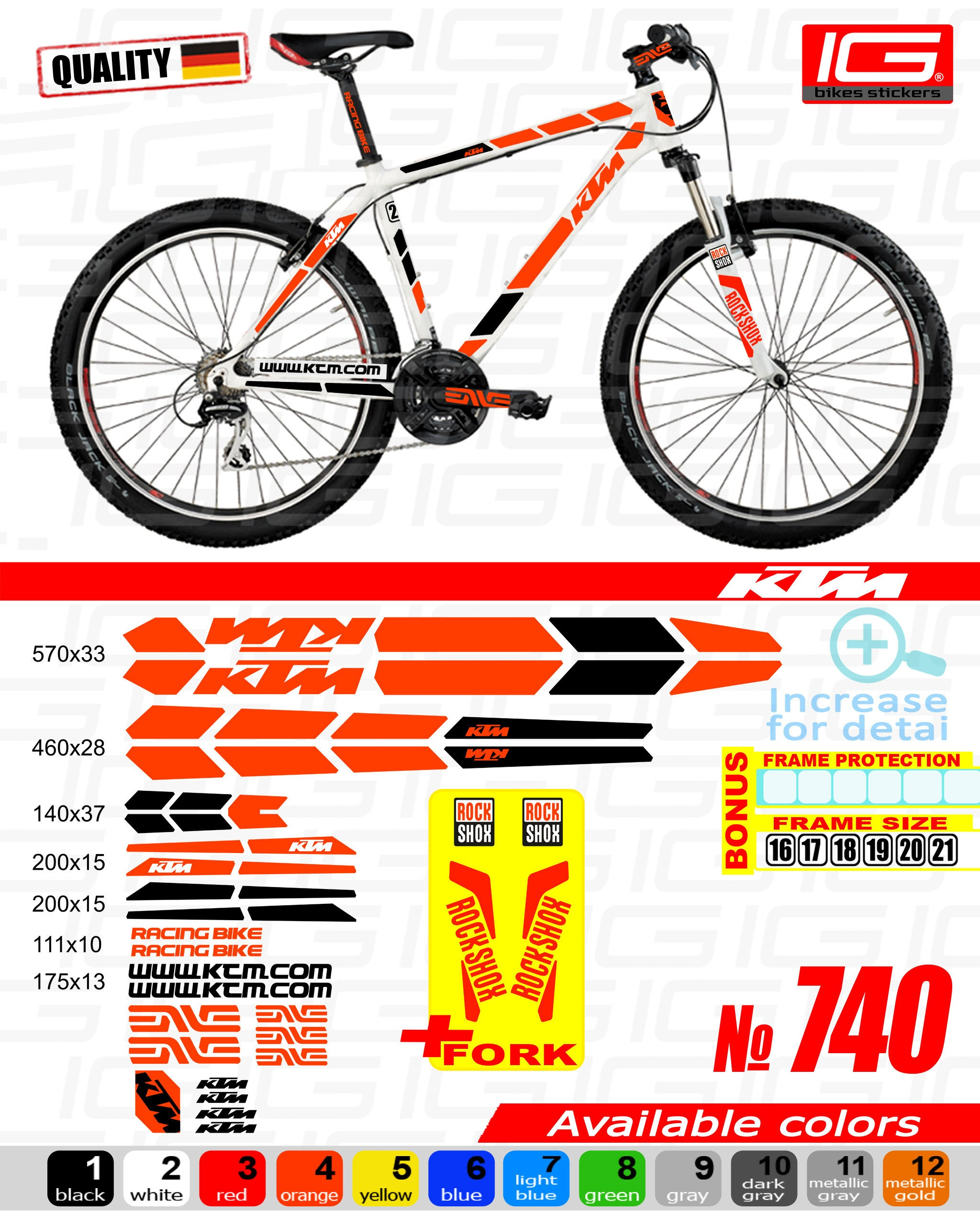 KTM Sticker Bike Frame Autocollant ktm Bicycle Mountain ktm