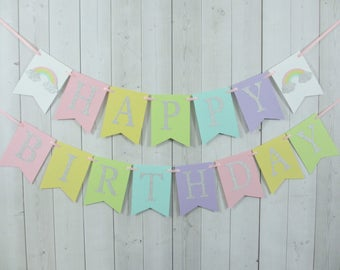 Rainbow Birthday Party Baby Shower Flag Pennant Banner Sign Pastel Pink Yellow Aqua Turquoise Blue Green Purple Lilac Silver Glitter