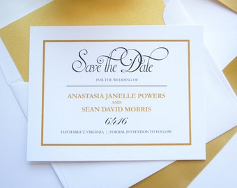 Gold Save the Dates - Elegant Save the Date Cards, Gold and Black Save the Date Card, Classic Save the Dates, Traditional - DEPOSIT