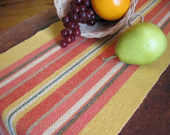 Fiesta Table Runner, Rustic Southwest Desert Ranch Dining Decor, Country Farmhouse Decor Hand Woven Yellow Fire Red Coral Stripe Cotton