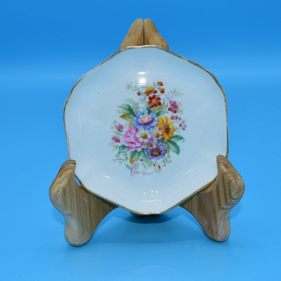 Coalport Fragrance Ashtray Vintage Floral Bouquet Bone China Made in England Artist Signed Smoking Tobacciana Collectible Gift