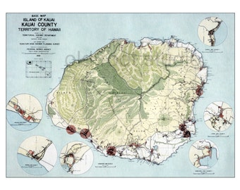 Hand Painted Map of Kauai, Hawaii, 1939 / Old Map Kauai / Vintage Map Kauai / Retro Map Kauai / Antique Map Kauai / Old Map Hawaii