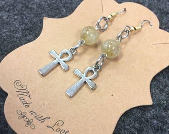 Citrine ankh earrings