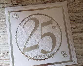 Silver Wedding Anniversary card/ 25th anniversary handmade card