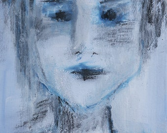 ABSTRACT Portrait of a Woman on Paper - Original Mixed Media Painting on Bristol Paper
