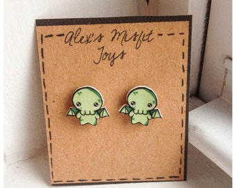 Kawaii Baby Cthulhu Chibi Earrings