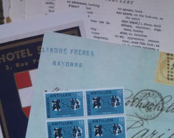 french flea market ephemera bag french book paper tags stickers postcard pack 4