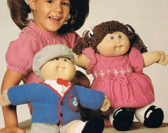 Doll Knitting Pattern - Cabbage Patch Kids Clothes Dress, Hat, Jacket Pants And Shoes - Patons All Dressed Up #1031