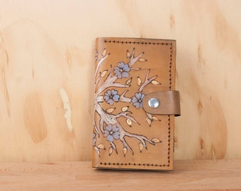 Leather iPhone 6 Case Wallet - Tree/Flower Winter Pattern in white, blue and antique brown - iPhone 5, 6, 6+, SE, 7, 7+, 8, 8+, X