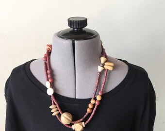 Vintage 90s Wooden Bead Long Double Strand Necklace, Boho Necklace, 90s Necklace, Necklaces for Women, Boho Jewelry