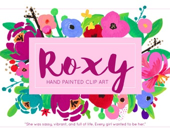 Roxy Bright Flower Hand Painted Acrylic Clipart Clip Art - Personal and Commercial Use rose garden peony posie blossom stationery wedding