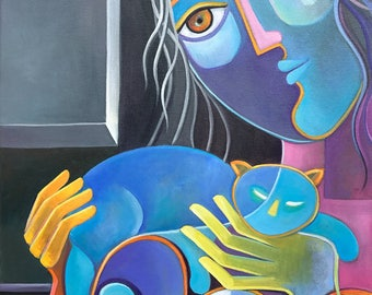Cubism Abstract Original Oil painting on canvas Marlina Vera Fine Art Gallery artwork Woman CAT LOVER Pop Art Gato Picasso Style Modernism