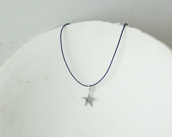 Silver starfish pendant, solid, sterling starfish pendant on a black cord, tiny starfish necklace, Greek handmade jewellery