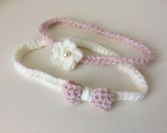 Baby headband  braid flower & pearl or bow crochet babyshower gift birth also toddler