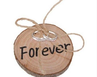 Inscription forever wooden wedding ring pillow