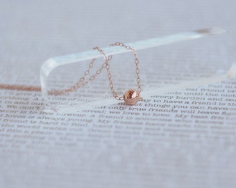 Tiny Ball Necklace, Dainty Rose Gold Necklace