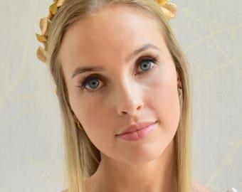 Bridal gold metal leaf fascinator headpiece headband