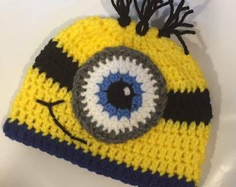 Baby Minion Inspired Beanie Style Crochet Hat