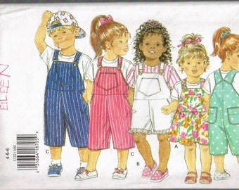 Size 4-6 Girl or boy Easy Bib Front Overalls Pattern - Overalls Shorts Sewing Pattern - Overalls Dress Sewing Pattern - Butterick 3332