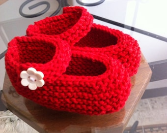 Hand knitted Mary Jane baby booties in cotton yarn, different colors