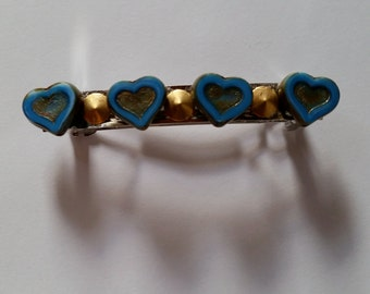 Blue Heart Gold Metal Studded French Barrette, for weddings, parties, special occasions