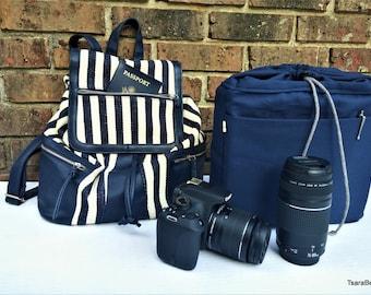 Backpack Camera Bag /DSLR Camera bag insert with classy backpack / camera travel set bag / padded camera bag insert
