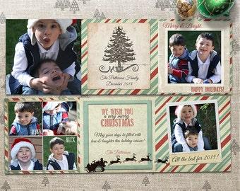 Christmas Photo Card - Trifold - 5x5 Printable Download, Multi Photo - Retro, Warm, Rustic, Stripes - Happy New Year, Seasons Greetings