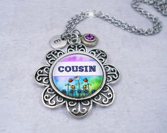 Cousin Necklace with Swarovski Birthstone Crystal & Letter Charm, Special Cousin Gift, Cousin Birthday, Choose your Charms, Made with lOve!