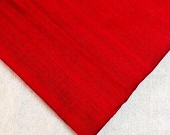 Indian Silk Fabric - Pure Silk Dupioni - Raw Mulberry Silk - Deep Red Raw Silk - Indian Dupioni Silk
