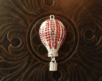 Rhinestone Hot Air Balloon Pendant for Chunky Bubblegum Necklaces