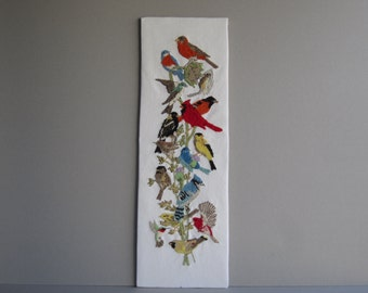 A Crewel, Embroidered Collection of Birds on a Branch, Unframed, Dimensions, Inc., Made in USA, 1989
