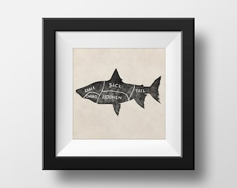 Butchers Fish Chart illustration giclée Print