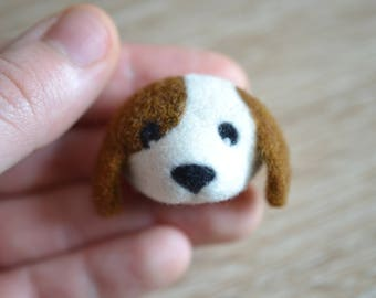 Needle Felted Puppy Dog Brooch - Handmade Cute Gift