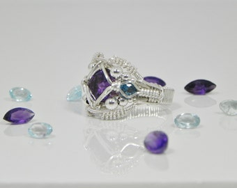 Faceted Amethyst Argentium Sterling Silver Wire Wrap Ring
