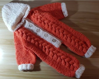 Personalised Made to Order Knitted Baby Kids Onesie Warm Jumpsuit Romper Bear Bunny Cat Fox Animal Style Custom Pattern Order Gift Idea