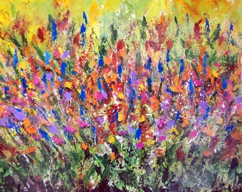 The Garden - Original Abstract Acrylic Painting By Mary Bridges