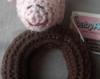 Pink Pig Ring Rattle