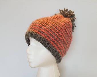 Striped knit hat, pompom knit beanie, pink grey striped hat, Hand-knit beanie toque, wool knit hat, cozy winter hat, alicegem handmade