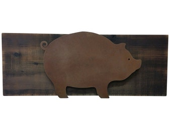 Pig Decor - Rusted steel pig raised off of scorched wood - Kitchen Piggy, Piglet, Wall Decorations, Fatty