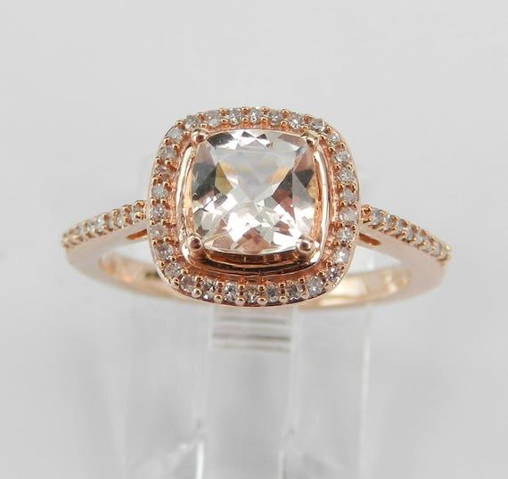 Morganite and Diamond Halo Engagement Ring Rose Gold Size 7 Cushion Cut