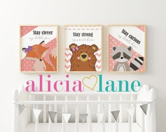 Woodland Animal Nursery Posters x3 {Pink Series} A3 sized files. FOX, BEAR and RACCOON