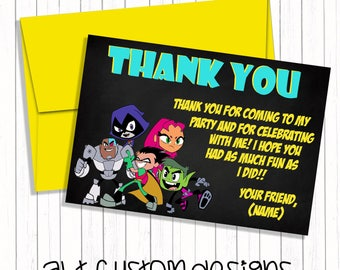 Teen Titans Go thank you cards