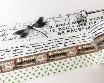 SAMPLE Washi Tape Dailylike coffee & tile design Handwriting