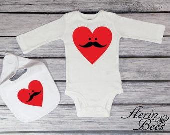 Valentine's Day Bodysuit - Mustache  Heart - Babys Valentine Bodysuit - Babys 1st Valentines Day - Moustache Heart Valentines - VD1601