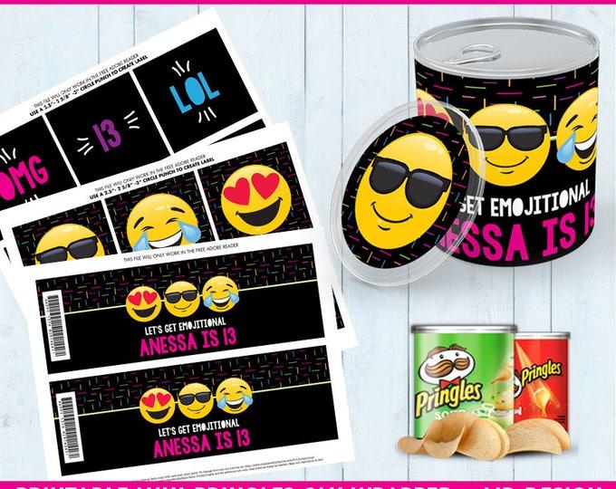 Emoji Party Mini Pringles Label - Emoji Mini Pringles Wrapper, Emoji Birthday, Emoji Party | Editable Text - Instant Download PDF Printable