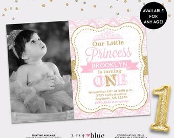 Princess Birthday Invitation Girl Gold Glitter Little Princess Party Invitation 1st First Birthday Pink Gold Damask - Printable Digital File