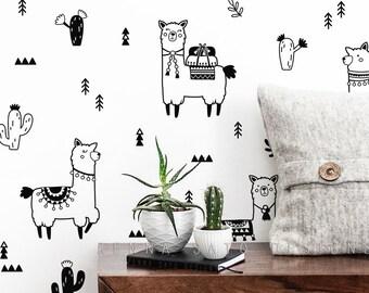 Cute Alpacas Wall Decals - Nursery Decals, Cactus Decals, Alpaca Decals, Llama Decals, Nursery Wall Stickers, Alpaca Stickers, Llamas