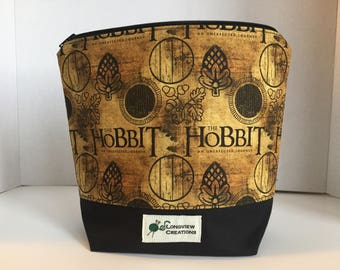 Wedge Bag, Zippered Bag, Knitting Project Bag, Small Project Bag, Sock Size, Hobbit